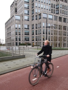 Eske the strategy consultant cycling home from the Rembrandt tower