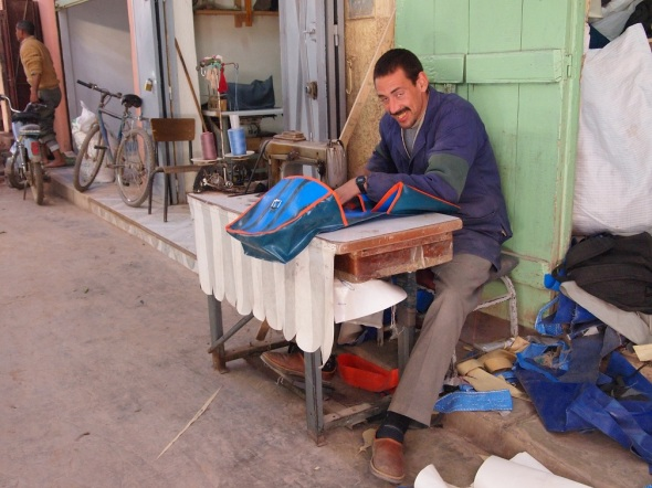 A man making panniers in Morocco