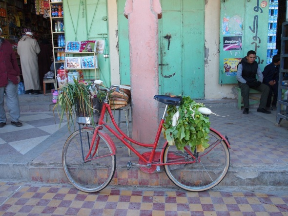 Vegetables carried home with a bicycle in Morocco