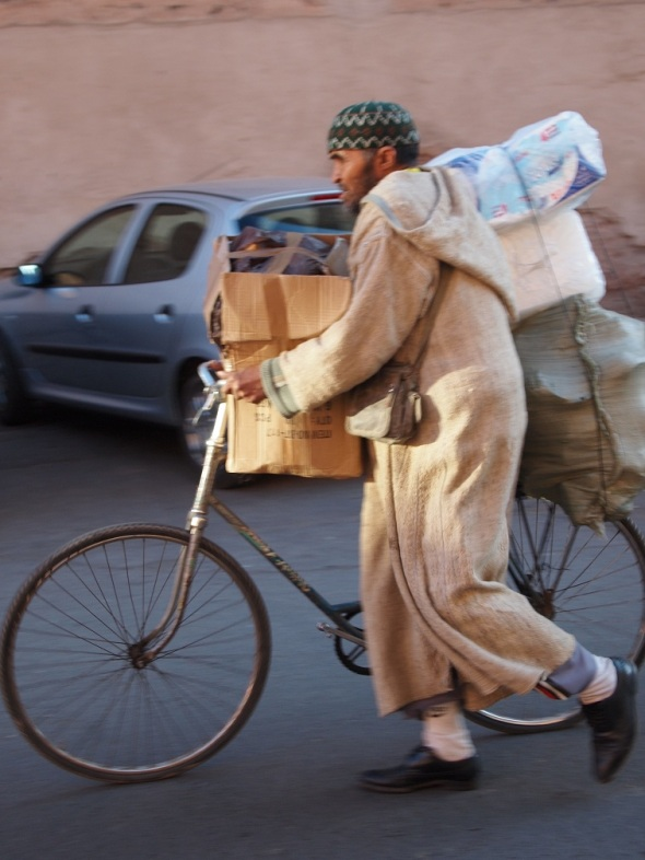 Goods transported on a bicycle in Morocco