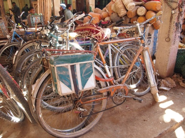 A saddle cover and panniers in Morocco