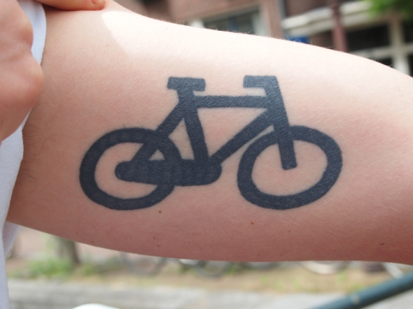 Close up of Tomas' bike tattoo